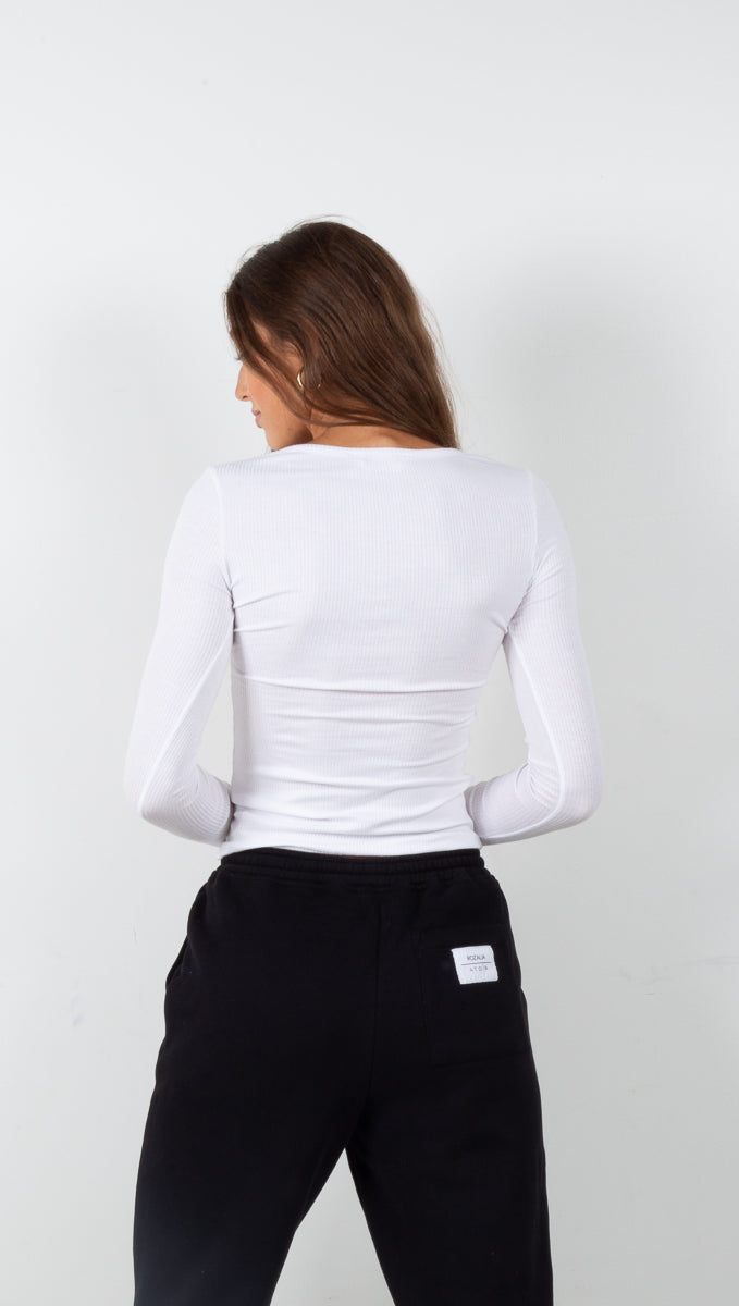 Long Sleeve Ribbed Henley - White