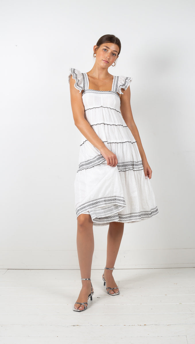 Tulum Midi Dress - White