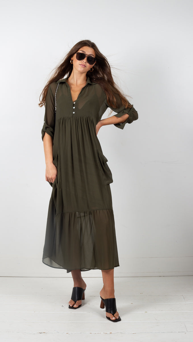 Vagabond Mila Long Sleeve Maxi Dress with Side Pockets olive