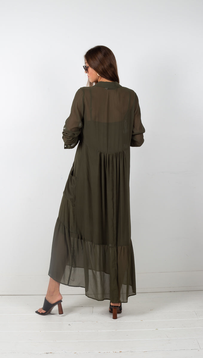 Mila Long Sleeve Maxi Dress w/ Side Pockets - Olive