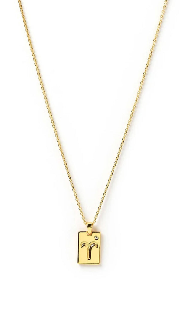 arms of eve zodiac tag necklace in gold