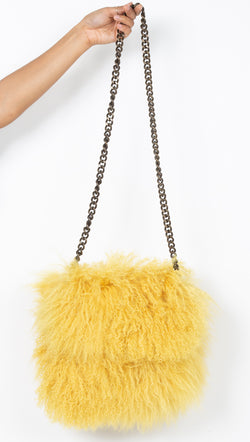 CPHLA Mongolian Sheepskin Yellow Crossbody