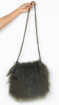 CPHLA Mongolian Sheepskin Olive Green Crossbody
