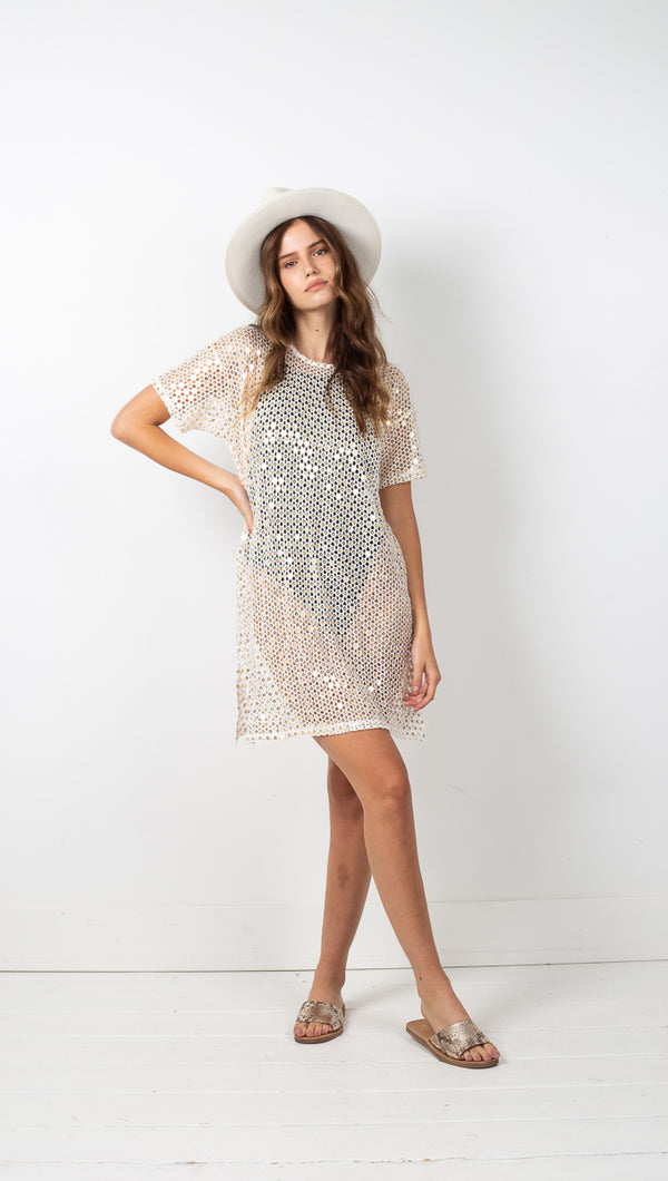 Castaway T Dress - White Mirror