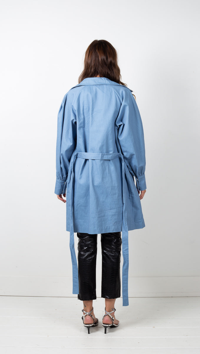 Verona Puff Sleeve Trench Coat - Blue