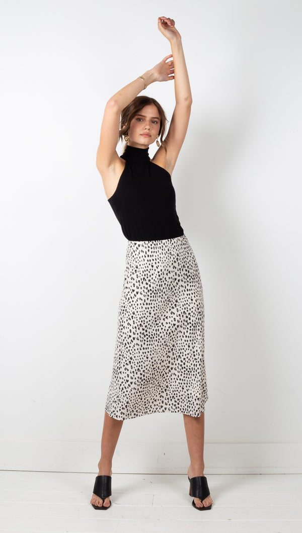 Ayla Leopard Midi Skirt - Cream/Black