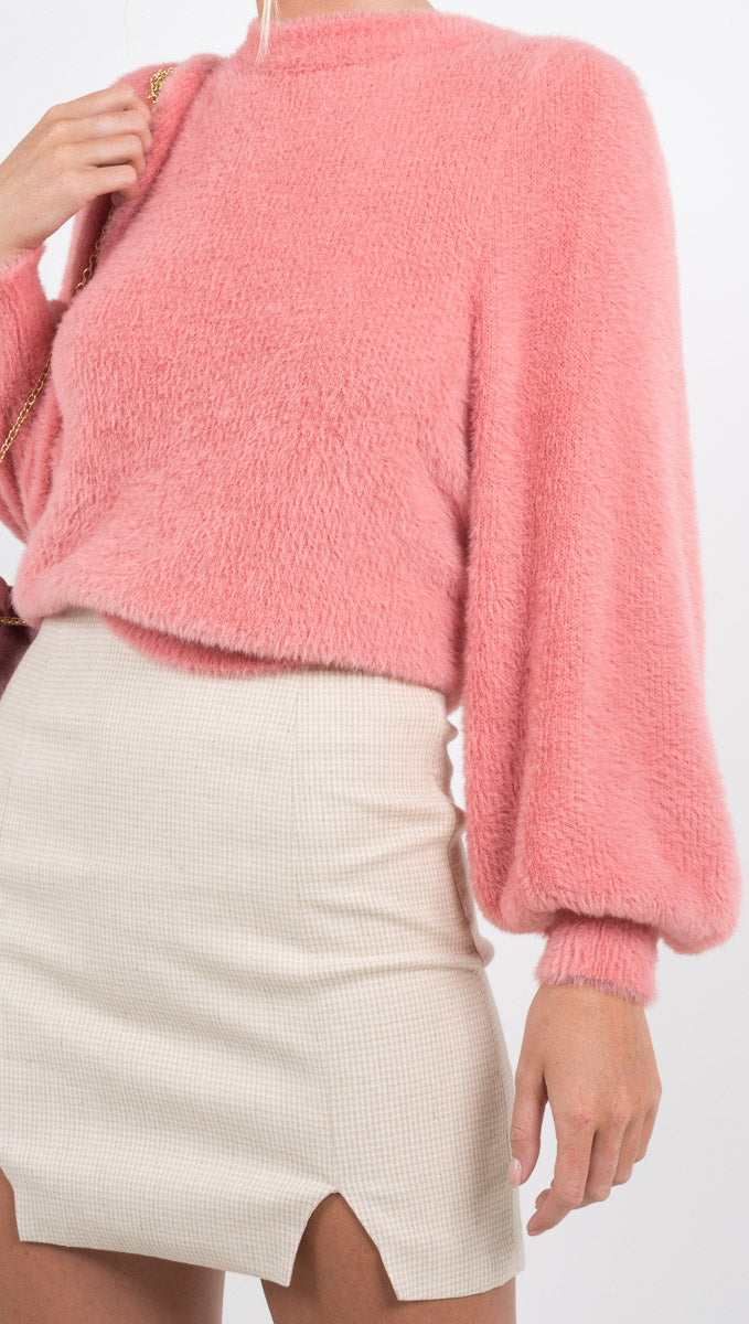 For Love and Lemons soft pink pullover sweater with puffed sleeves