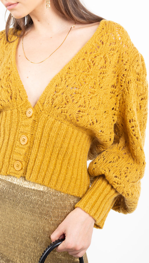 For Love and Lemons Mustard Knit Sweater