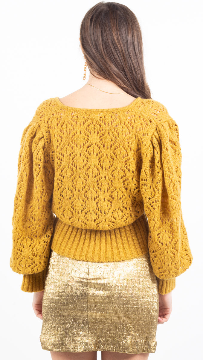 Francois V Neck Pointelle Sweater - Mustard