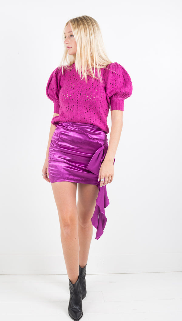 Bowie Metallic Mini Skirt - Electric Purple