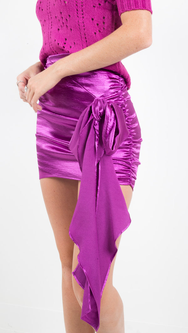 For Love and Lemons bright purple faux ruched wrap skirt
