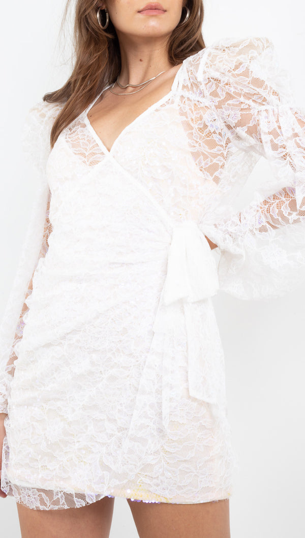 For Love and Lemons Sheer White Lace Dress