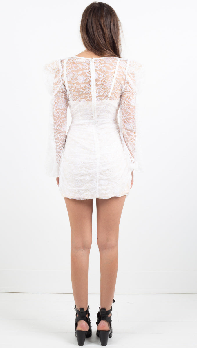 Louvre Long Sleeve Dress - Blanc