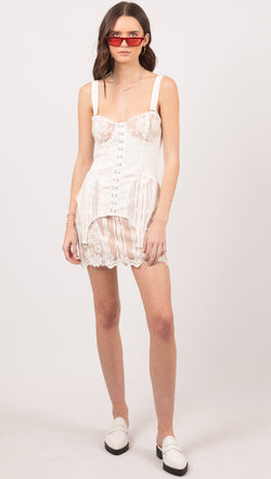 For Love And Lemons White Tank Mini Dress With Hook Front