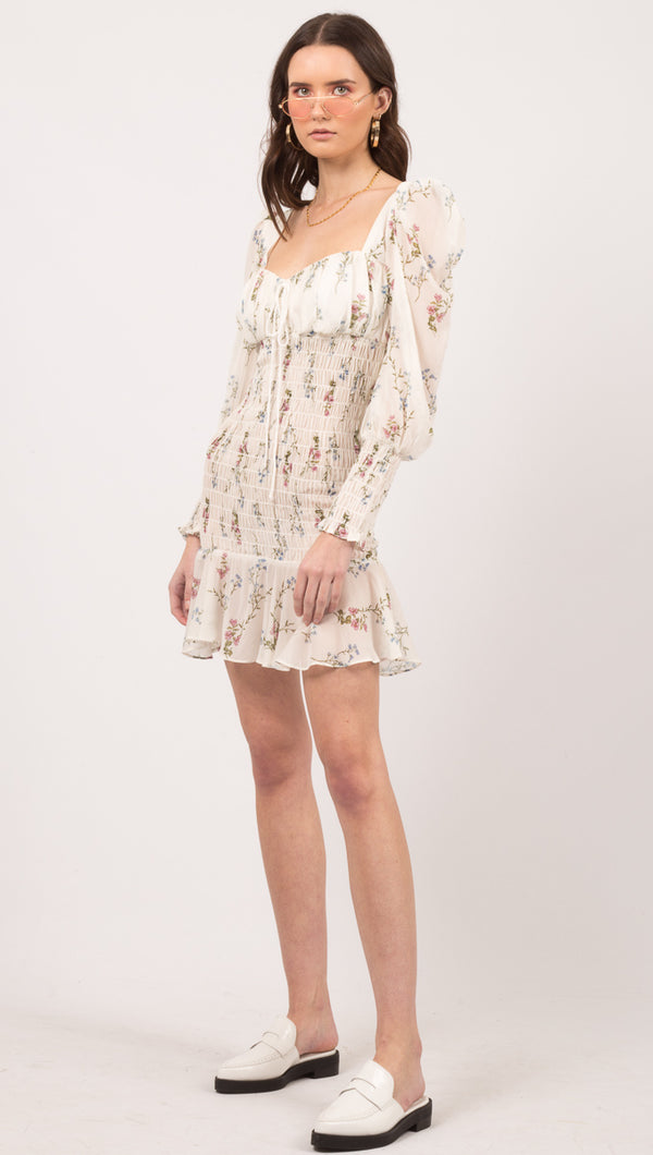 For Love And Lemons Floral Scrunch Long Sleeve Mini Dress
