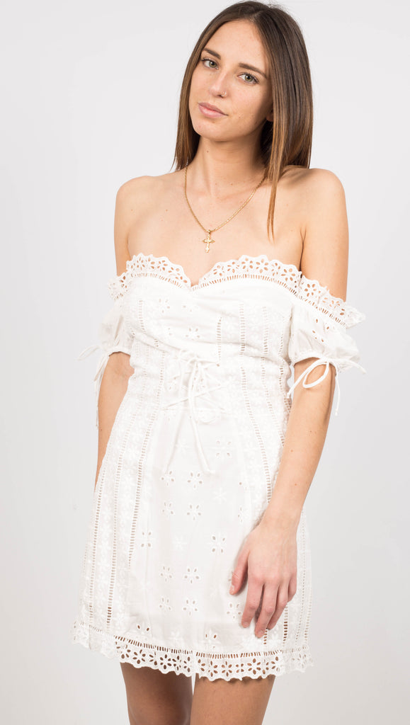 Anabelle Eyelet Lace Up Dress - White