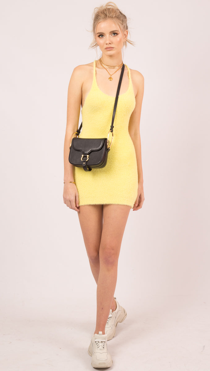 For Love And Lemons Yellow Fuzzy Knit Mini Dress