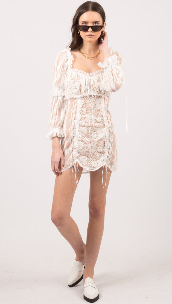 For Love And Lemons White Lace Long Sleeve Mini Dress