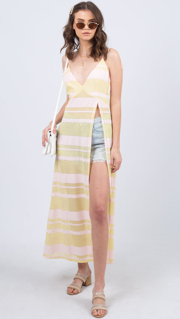 Steph Maxi Coverup - Pink Stripe
