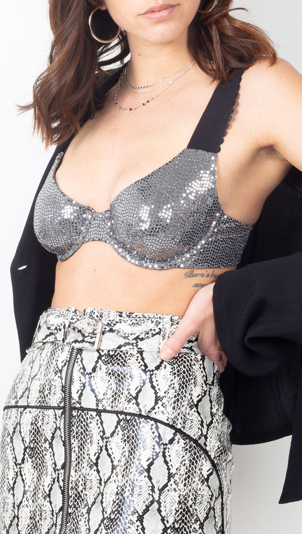 For Love & Lemons Silver Metallic Underwire Bra Top