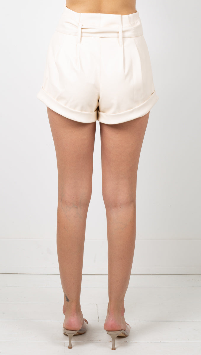 Afton Faux Leather Shorts - Creme