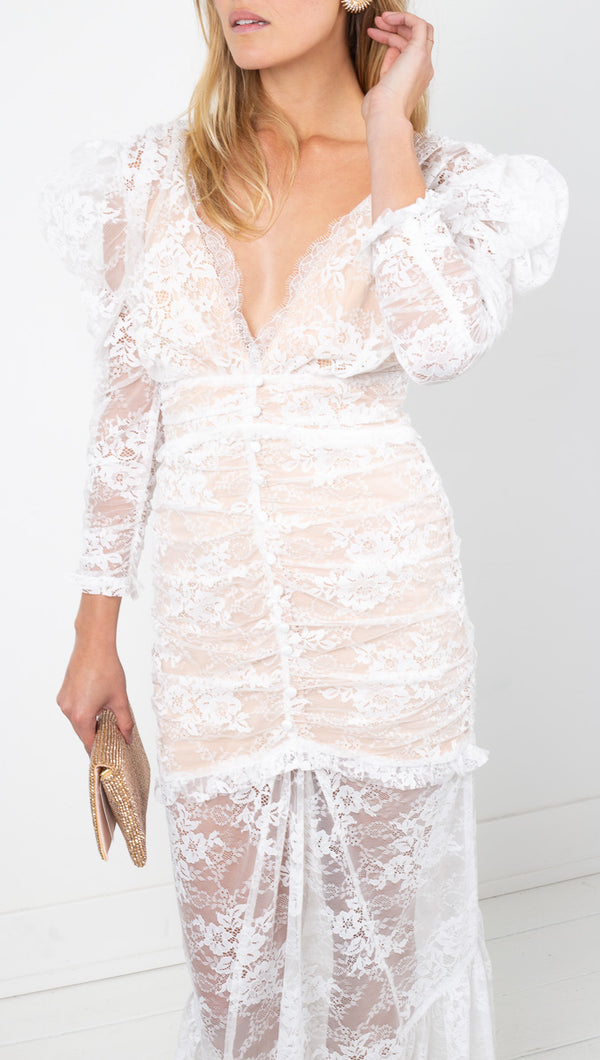 For Love & Lemons White Lace Maxi Dress