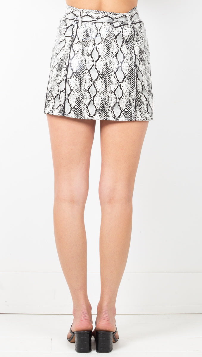 Claude Snakeskin Mini Skirt - Blanc