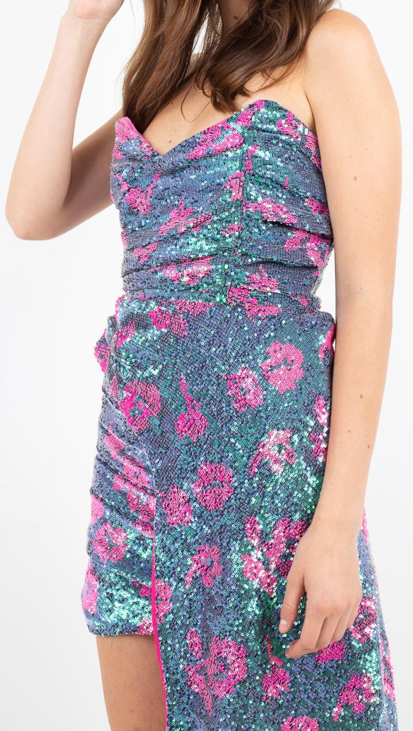 Pauline Sequin Strapless Dress - Cosmo