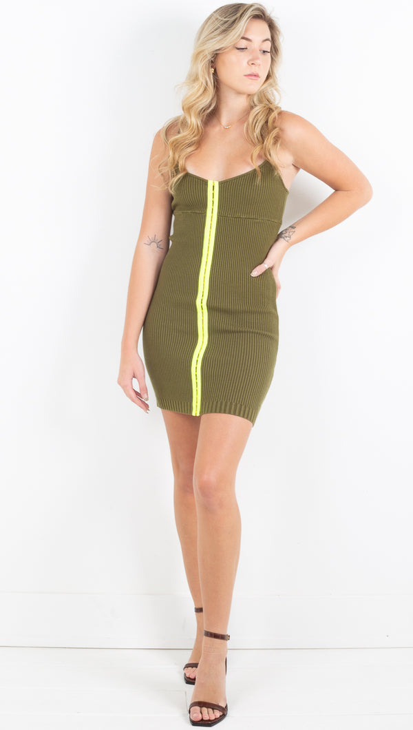Paige Hook And Eye Dress - Olive