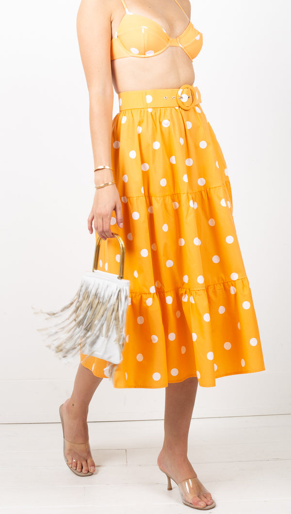 For Love & Lemons Orange Polka Dot High Rise Tiered Midi Skirt