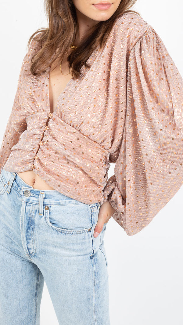For Love & Lemons Pink and Gold Polka Dot Blouse
