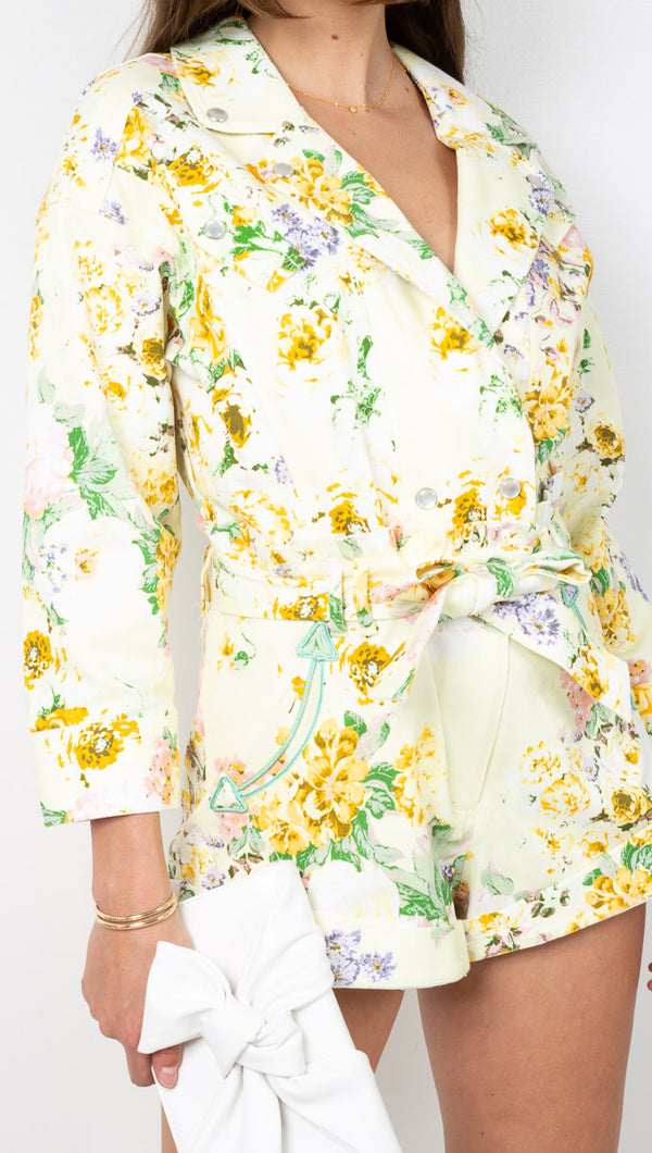 For Love & Lemons Yellow Floral Stretch Denim 3/4 Sleeve Romper