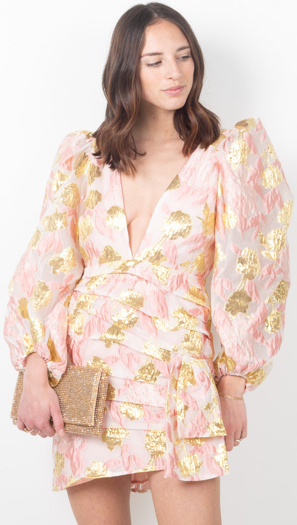 Montmarte Brocade Dress - Rose