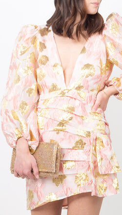 For Love & Lemons Pink and Gold Brocade Mini Dress with Puff Sleeves and Side Bow