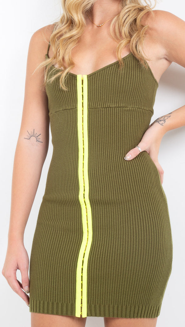 For Love and Lemons olive knit bodycon dress with lime green center hook closures