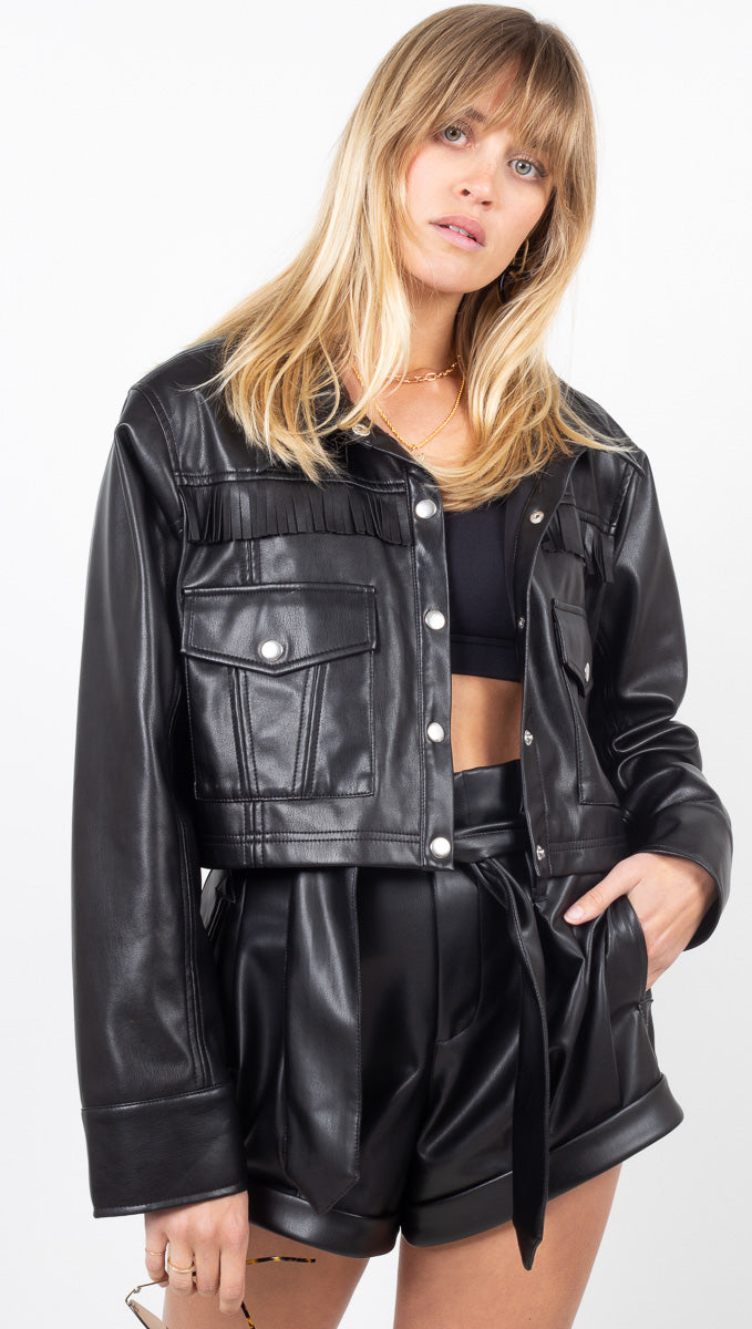 Afton Faux Leather Cropped Jacket - Noir