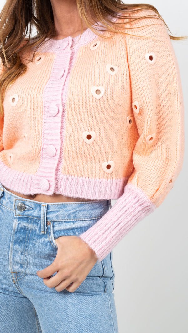 For Love & Lemons Peach and Pink Heart Cropped Cardigan
