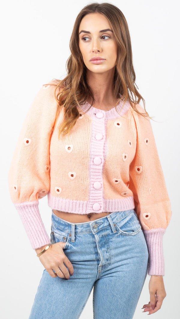 Lovejoy Cropped Cardigan - Peach