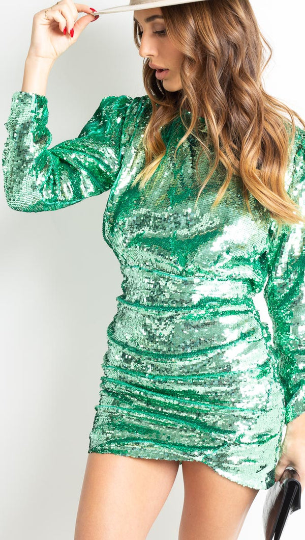 Marais Sequin Mini Dress - Mint