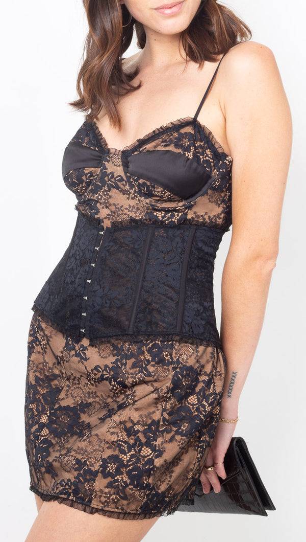 For Love & Lemons Black Lace Mini Dress with Removable Waist Corset