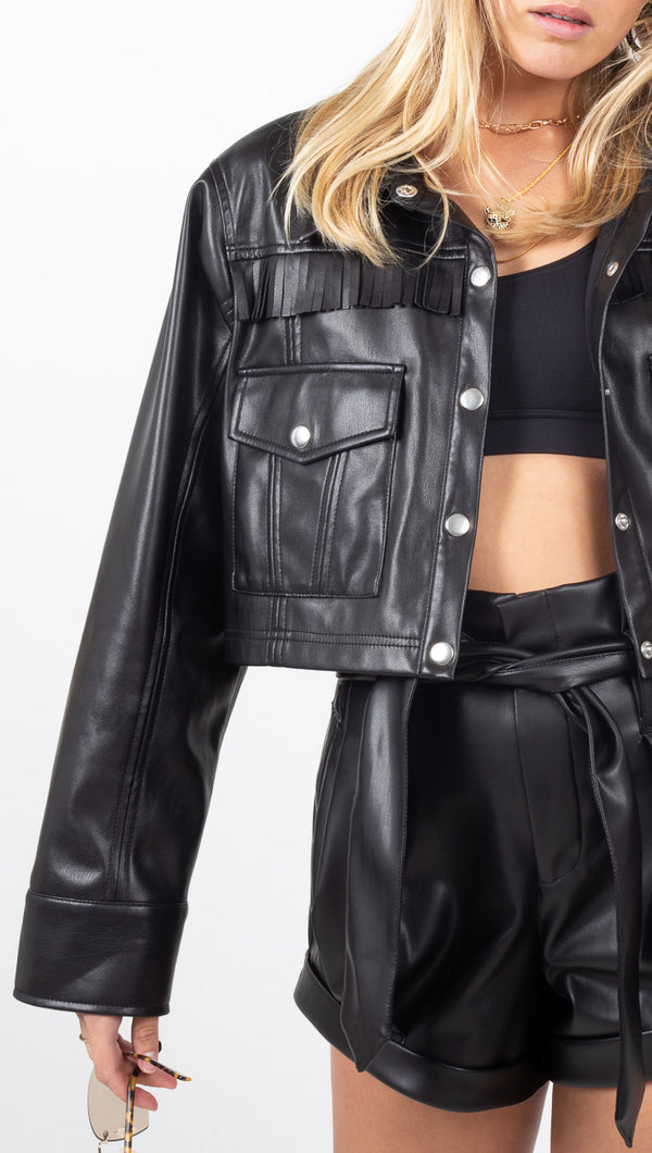 For Love & Lemons Black Faux Leather Cropped Jacket