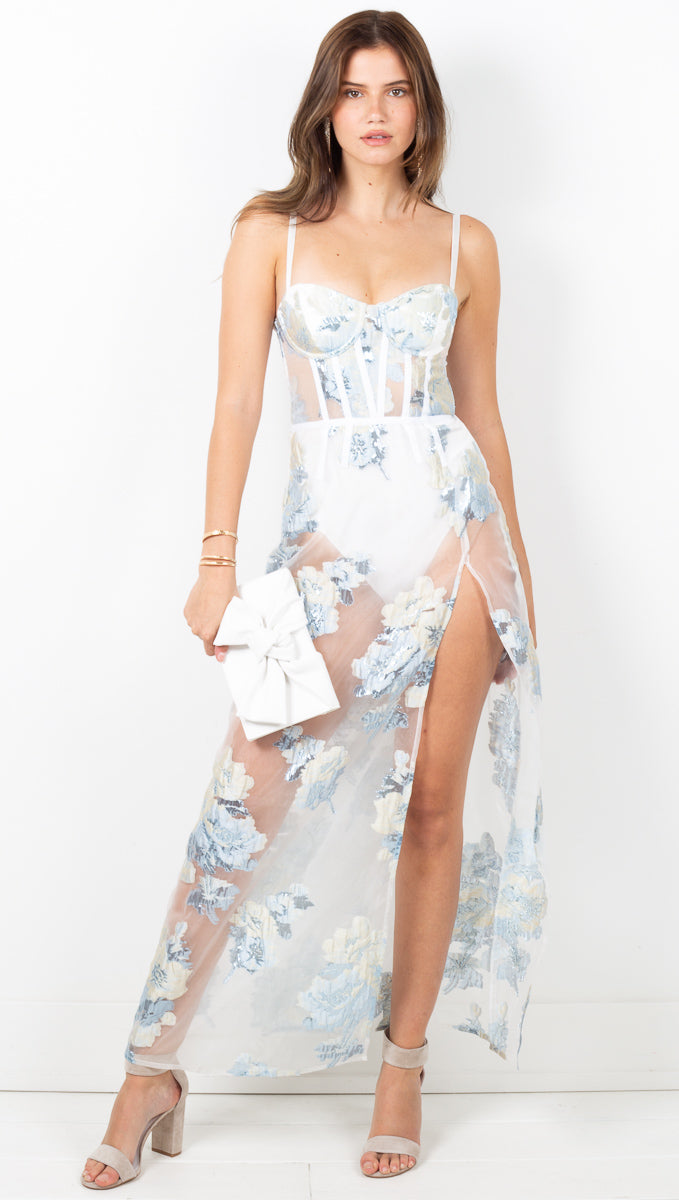 Cody Organza Jacquard Maxi Dress - Icicle