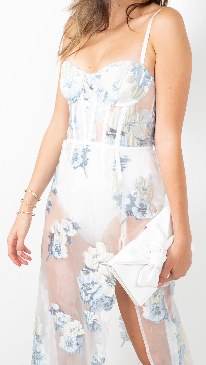 For Love & Lemons White and Blue Floral Sheer Maxi Dress With Bodysuit Lining