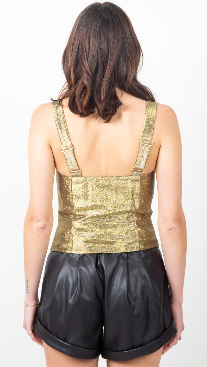 Juliette Brocade Bustier Top - Gold