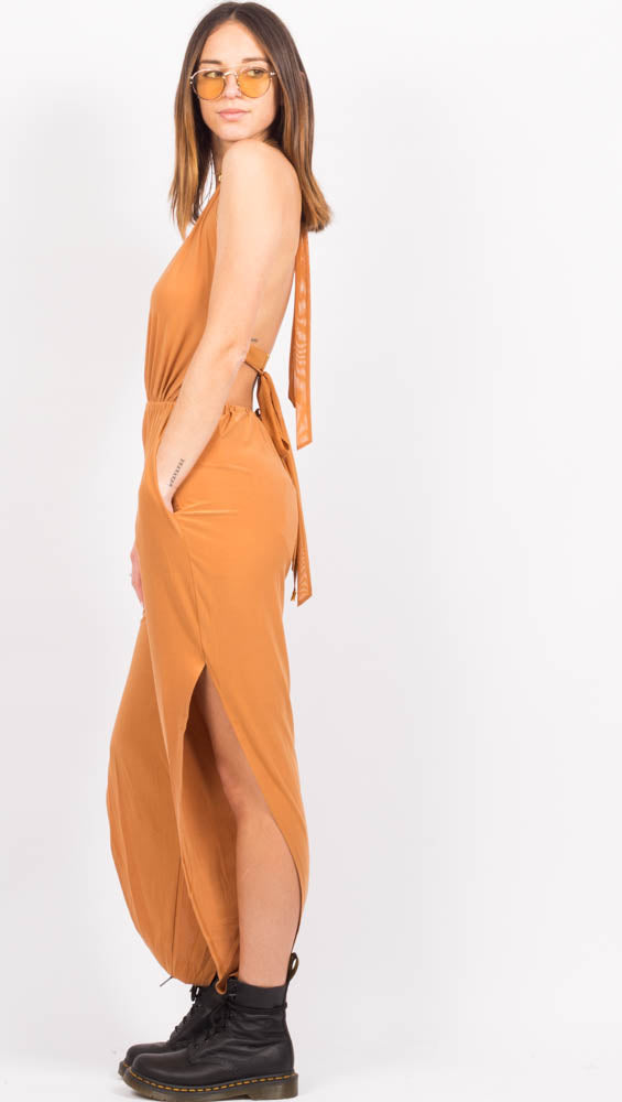 Brown Deep V Jumpsuit