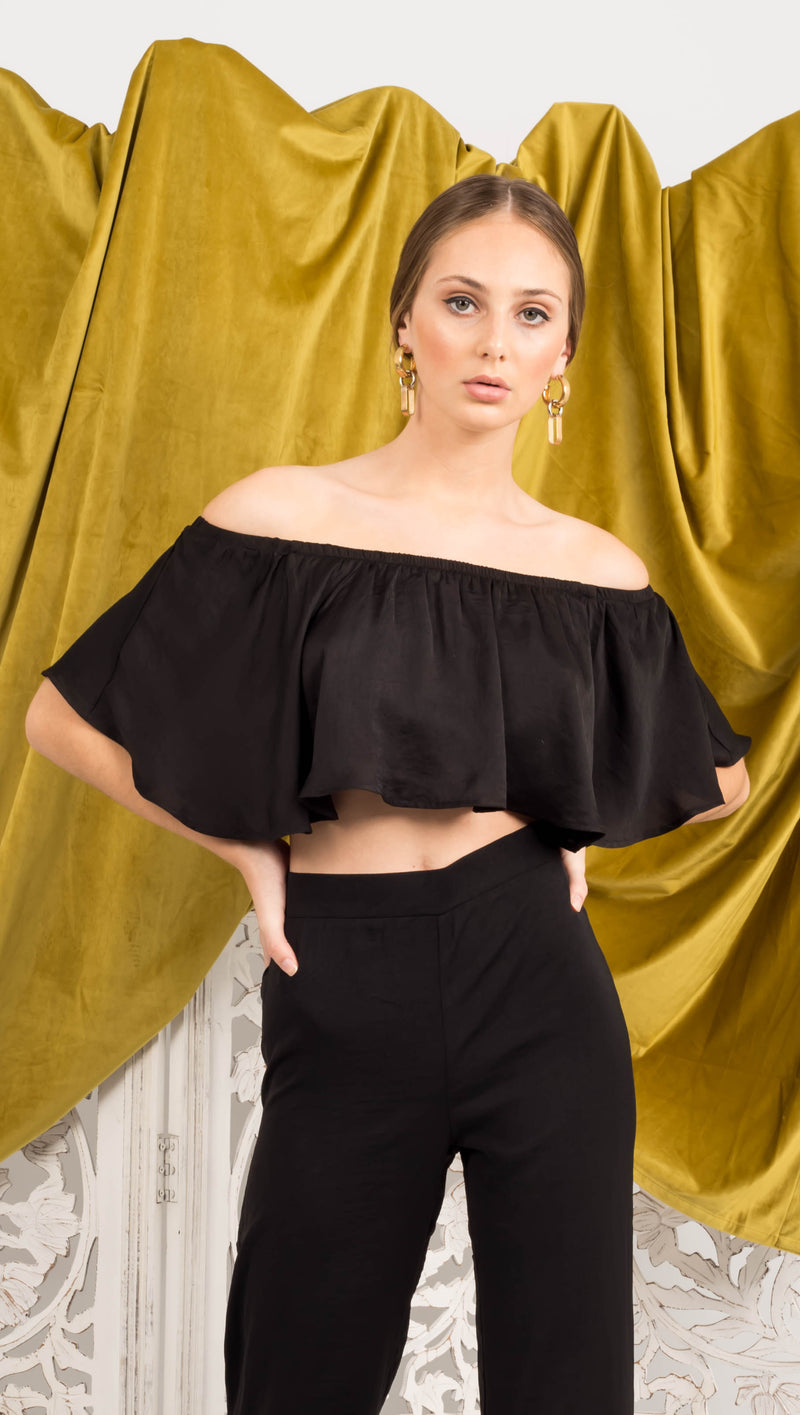 Chelsea Flutter Top - Black