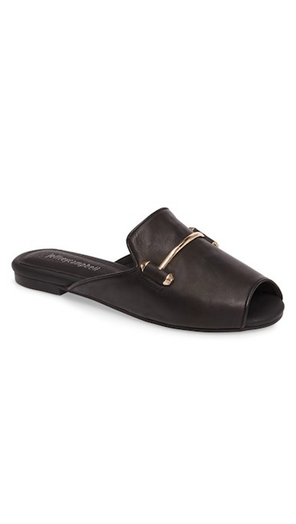 Jeffrey Campbell Talley; Black Peep Toe Loafers with Gold Bar