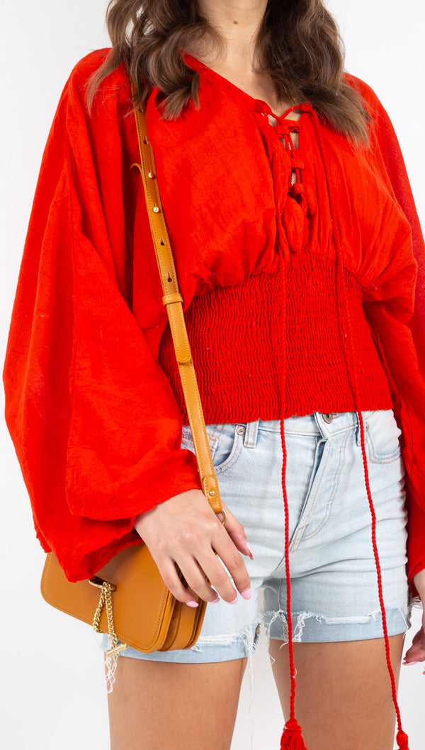 Jen's Pirate Booty red boho blouse