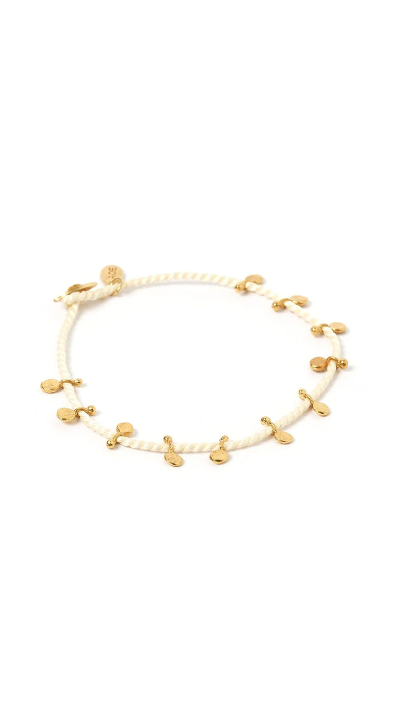 white string with gold beeding