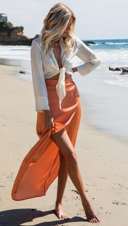 VDV The Label Orange Washed Satin High-Low Maxi Skirt